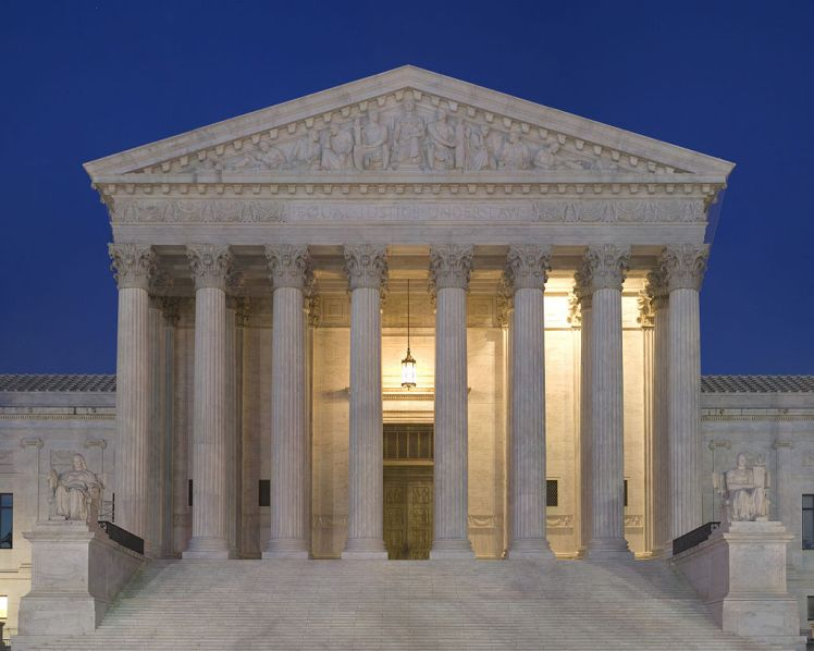 """Equal Justice Under Law"" inscribed on the West front of the US Supreme Court Building Courtesy: Wikimedia user Noclip"